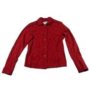 Coldwater Creek Red Button Up Long Sleeve Jacket
